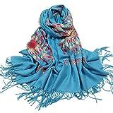 Women's Embroidered Oversize Tassel Shawl Scarf (Blue)
