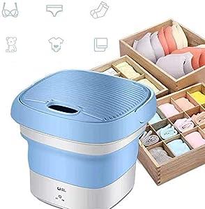 Lavadora portátil de camping plegable Twin bañera, lavadora, ropa interior, pequeña lavadora automática para residencias estudiantes (azul)