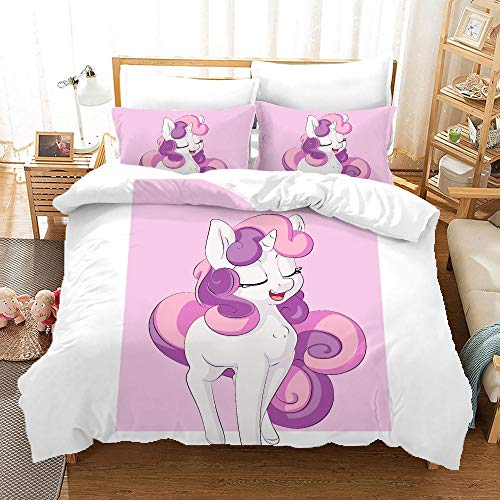 BFSOC 3 Pieces Duvet Cover -Cartoon Pink Unicorn -3D Printed Bedding Quilt Duvet Cover With Zipper Closure for Adults, Ultra Soft Hypoallergenic Microfiber 94.5 X 86.7 inch