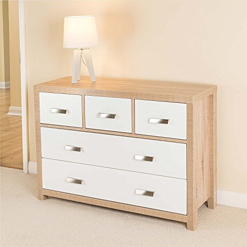 5 Draw Oak Effect Chest of Drawers w/Modern White Wood Design