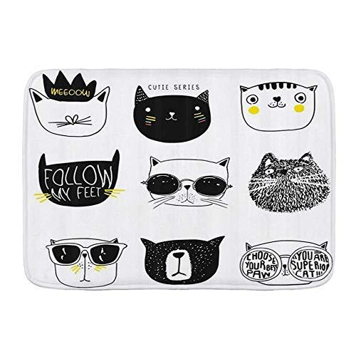 Fußmatten, Katze Stilvolle Katzen mit Schnurrbart Brille Krawatte Hut Krone Flauschige Humor Gesichter Grafik, Küche Boden Badteppich Matte Saugfähig Innen Bad Dekor Fußmatte rutschfest