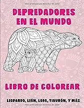 Depredadores en el mundo - Libro de colorear - leopardo, León, Lobo, Tiburón, y más
