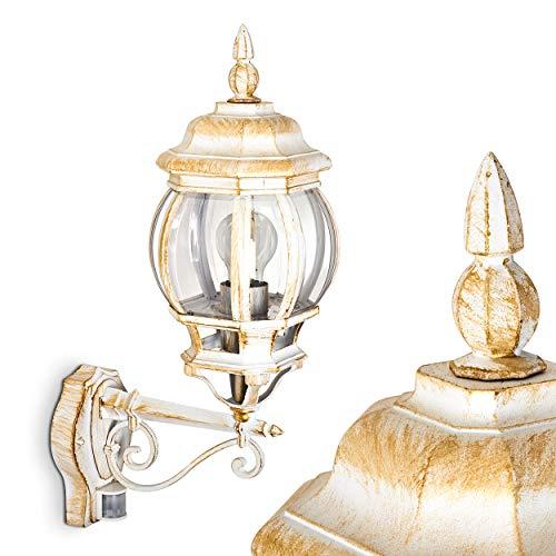 Wandlamp Lentua w. bewegingsmelder, wandlamp naar boven in antieke look, gegoten aluminium in wit/goud w. kunststof schijven, wandlamp voor terras/tuin w. E27 stopcontact, max. 60 Watt, retro/vintage