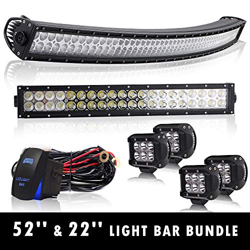 """4XBEAM 50"""" Curved Led Light Bar On Roof Top Windshield Mount + 22"""" Offroad Work Light For Truck Dodge Ram Polaris Jeep Cherokee Toyota Tacoma Can Am SXS Marine Yamaha YXZ Wildcat Limited 4x4"""