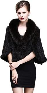Women's Real Mink Fur Cape Shawl Stole Jacket&Fox Fur Collar
