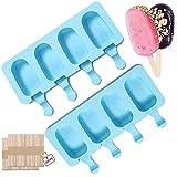 Moldes para Paletas de Silicona, 2 PCS Molde de Paleta de Hielo, Moldes de Congelador para Helados, Molde para Helados Caseros, Popsicle Moldes, con 100 Palos de Madera (Cielo Azul)