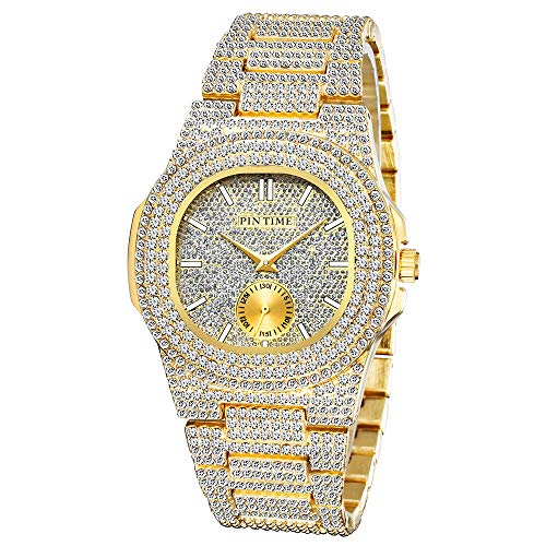 Fashion Unisex Crystal Watch Bling Diamond Quartz Analog Watch Oblong Silver Gold Wristwatch with Rhinestone Stainless Steel Bracelet (Gold)