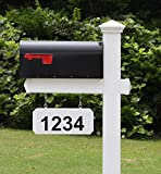 4Ever Products The Fitzgerald Mailbox with Post Included, Hanging Blank Address Plate, Black Metal Mailbox...
