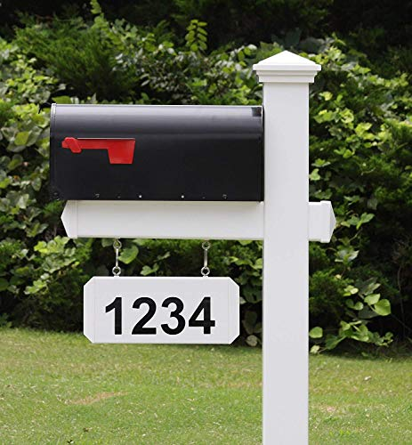 4Ever Products The Fitzgerald Mailbox with Post Included, Hanging Blank Address Plate, Black Metal Mailbox with White Vinyl Post Combo Complete System