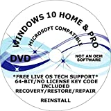 WINDOWS 10 PRO & HOME 64-BIT DVD + 1 FREE DO-IT-YOURSELF INSTALL INSTRUCTION DVD RECOVERY FIX REINSTALL REPAIR INSTALL RESTORE TO FACTORY FRESH CONDITION FREE LIVE TECH SUPPORT COMPATIBLE TO MICROSOFT