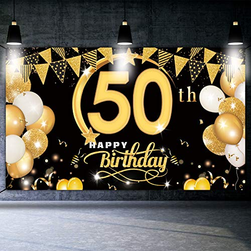 DANXIAN Cartel decorativo para 50 cumpleaños, color negro y dorado, tamaño extragrande, para 50 cumpleaños, fiesta, decoración de 50 años, pancarta de cumpleaños para mujeres y hombres