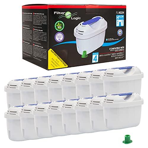 Filterlogic FL402H | Pacco da 16 - Cartuccia filtrante compatibile con Brita Maxtra+ Filtro Acqua per Caraffa Marella Style Aluna Elemaris XL cool
