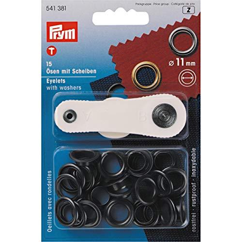 Prym 541381 Ösen und Scheiben Messing 11,0 mm brüniert, metal, 11 mm