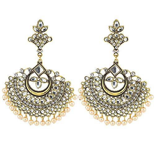 Pendientes colgantes indios vintage, pendientes en forma de abanico de plata dorada, pendientes étnicos gitanos para mujer