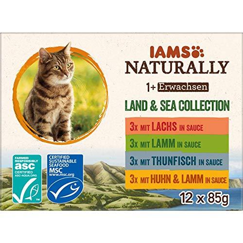 IAMS Naturally Katzenfutter Nass in Sauce, hochwertiges Nassfutter mit Fleisch und Fisch für erwachsene Katzen, Land & Sea Collection, 12 x 85 g