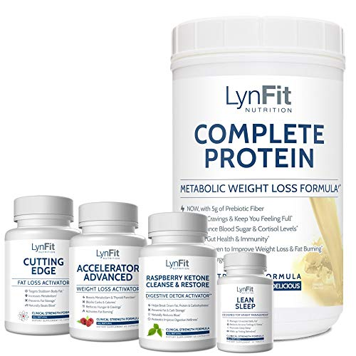 LynFit Nutrition Weight Loss System (Complete Whey Protein Shake, Accelerator Advanced, Cutting Edge, Raspberry Ketone Cleanse & Restore, Lean Sleep) (Vanilla Creme Complete Whey Protein, 2.0 lbs.)