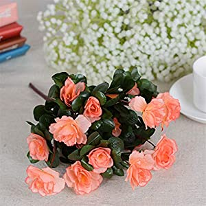 Silk Flower Arrangements Artificial Flowers Fall Outdoor Artificial Red Azalea Flowers Bushes UV Resistant Fake Flowers Home Decor Small Decorations for Garden (Color : Champagne)