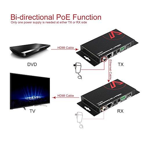 HDMI HDBaseT Extender, 4K@60Hz 40m/130ft over Single Cat5e/6a, 1080P 70m/230ft, PoE IR RS232 HDCP2.2, HDR, Dobly Vision, 3D, Dolby Atmos & DTS:X, CEC, Uncompressed Transmission AV Access HDMI Extender