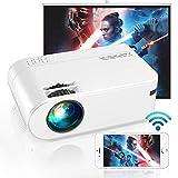 Vidéoprojecteur WiFi, YABER 5800 Lumens Mini Projecteur Portable [ Écran du Projecteur Inclus] Rétroprojecteur Compatible iPhone, Android, TV Stick