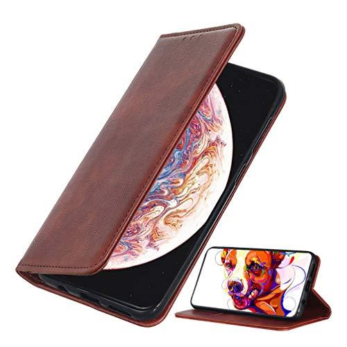 BRAND SET Hülle für Realme X50 Pro 5G Brieftasche Ledertasche Flip Hülle PU Leder+TPU Material Schutzhülle mit Klapphalter Funktion Kartenschlitz unsichtbarer Magnetverschluss(Braun)