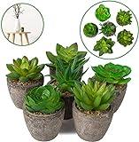 ANGEELEE 4 Stück Kunstpflanze Kunstpflanzen im Topf Künstliche Sukkulenten Tischdeko Haus Balkon Büro Deko-A8