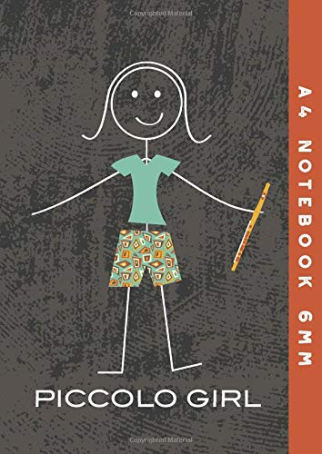 A4 Notebook 6mm: Piccolo Girl Lined Exercise Book