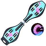QAZXS Casterboard Waveboard Skateboard für das Surfen auf der Straße mit Free Carry Bag LED-Blinkrädern 32 Zoll-Drachenflamme