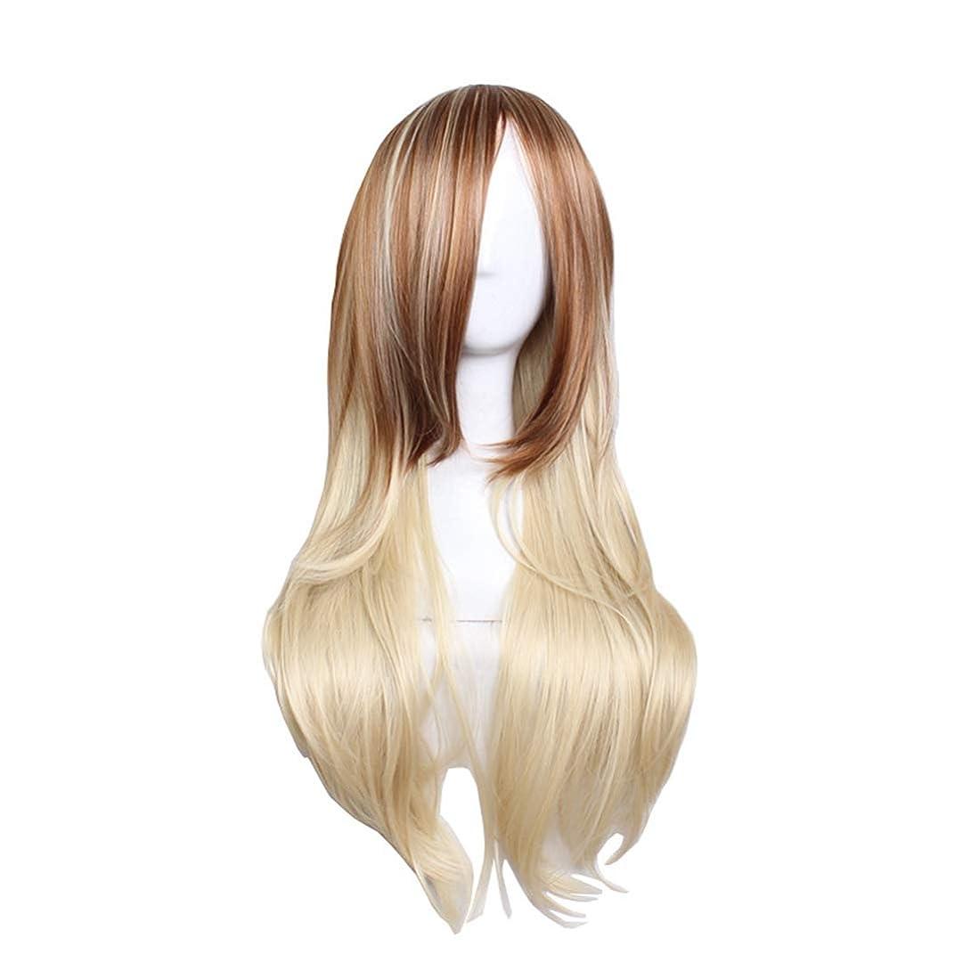 愚かなたくさんヘッジJIANFU コスプレ ファッション ロング バンズ 長い カーリー 髪 グラデーション ゴールデン ビッグ ウェーブ ウィッグ (Color : Brown gradient pale gold)