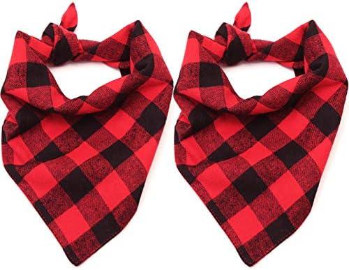 Malier 2 Pack Dog Bandana Christmas Classic Plaid Pet Bandana Scarf Triangle Bibs Kerchief Set product image