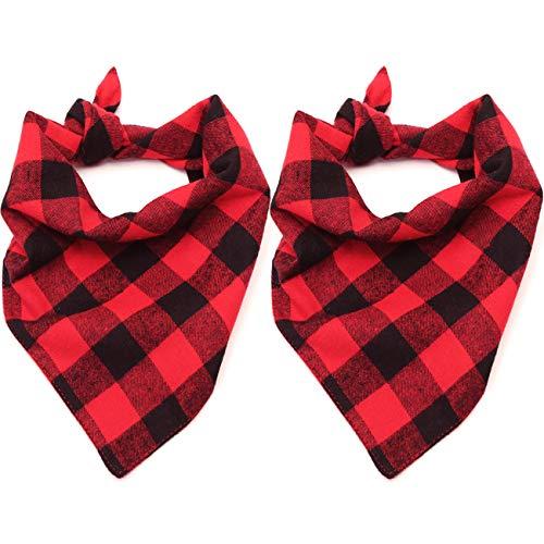 Malier 2 Pack Dog Bandana Christmas Classic Plaid Pet Bandana Scarf Triangle Bibs Kerchief Set Pet...