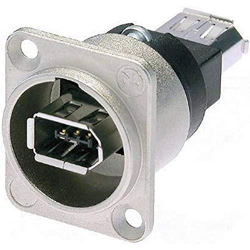 Neutrik NA1394-6-W - Adaptador Firewire 6 (IEEE1394, 6 broches en los dos lados, níquel, diseño en forma de D)