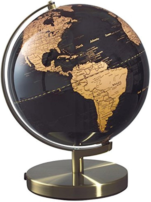 Mascagni Globus Weltkarte Kupfer auf Boden schwarz D 25cm Halterung und Basis aus Metall