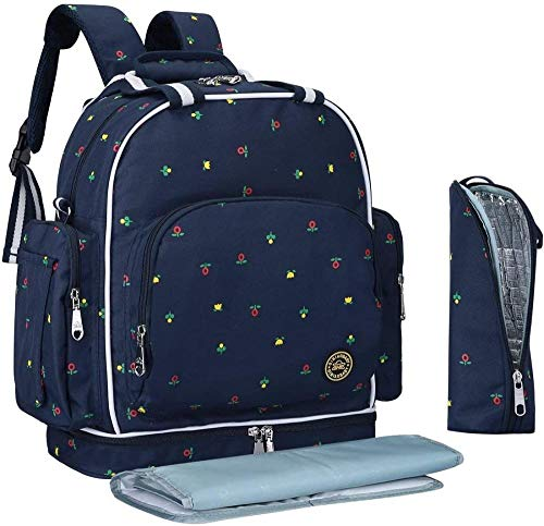 Dewmpp Bolsa de pañales gran capacidad impermeable mochila de viaje para bebés bolsas de aislamiento de papel de aluminio-Flores azules