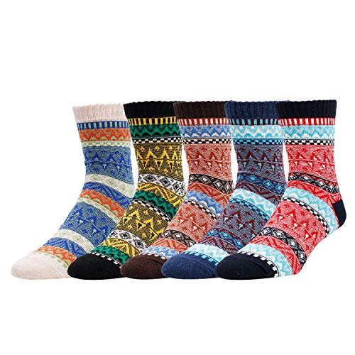 5 Pack Women Soft Thick Knit Striped Wool Cozy Crew Zmart Socks Casual Fall Winter