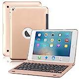iPad Mini 4 Keyboard Case, BoriYuan Bluetooth Wireless Keyboard Folio Flip Smart Cover for Apple iPad Mini 4 2015 Release with Folding Stand and Auto Sleep/Wake Function - Rose Gold