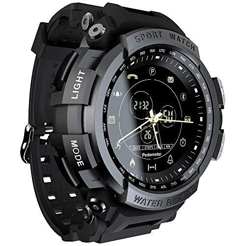 Grww ofd Sport Smart Watch Professionelle wasserdichte Bluetooth Anruferinnerung Digital Herrenuhr SmartWatch für iOS und Android,Black