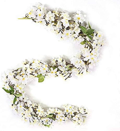 JUN-H Simulation Fake Blumen Pflanzen Jasmin Girlande Künstliche Pflanzen Hängend Reben Hochzeit Home Festival Party Hof Zaun Dekoration 2 Stück 180 cm (weiß)