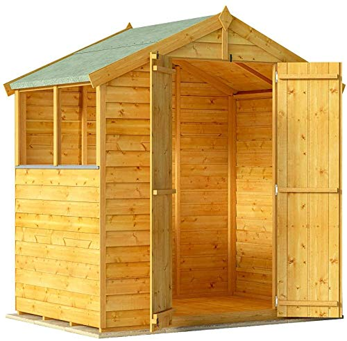 BillyOh Keeper Overlap Garden Shed with Floor   Wooden Garden Storage Shed with Apex Roof & Felt Included   Windowed or Windowless- Multiple Sizes (4x6 Windowed)