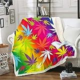 Marijuana Leaf Sherpa Blanket Cannabis Leaves Fleece Throw Blanket Rainbow Weed Green Plants Plush Blanket Hemp Fuzzy Blanket for Sofa Bed Couch Marihuana Decor - Fall Winter and Spring