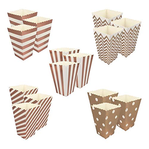 TOSISZ 50 Stück Roségold Popcorn Box Geburtstagsfeier Kinder Papier Candy Container Taschen Hochzeit Baby Dusche Dekor Zubehör (Random Style)