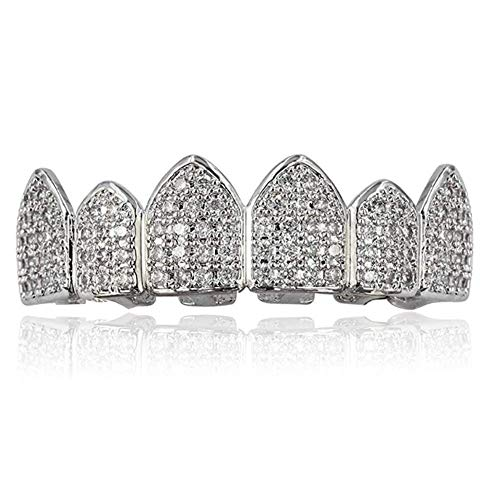 JINAO 18K Gold Plated Top Mouth Grill Teeth Macro...