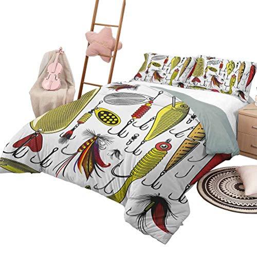 3-teiliges Bettlaken-Set Angeln Luxe-Bettwäsche 3-teiliges übergroßes gestepptes Tagesdecken-Bettlaken-Set Sammlung künstlicher Köder Twister-Fangaktivitäten Jagdfischen Konzept King Size Gelb Rot