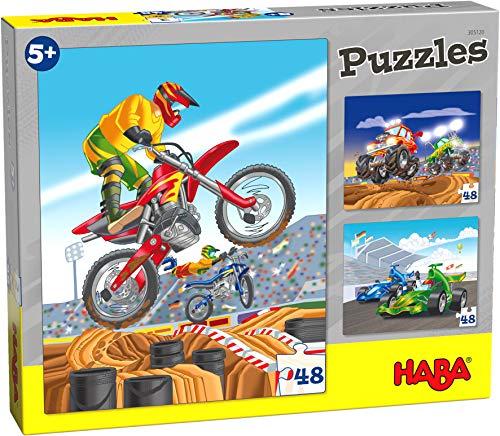 Haba 305120 - puzzels motorsport, 3 puzzels met elk 48 delen, motorsport motieven met motocross, Formule 1 en monstertrucks, puzzel vanaf 5 jaar