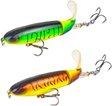DOITPE Fishing Lures Topwater Whopper Plopper with Floating Rotating Tail Barb Treble Hooks in Saltwater and Freshwater Lures for Bass Trout Walleye Pike Musky,4.0 inch/0.46 oz