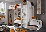 Etagenbett weiß / grau inkl Kleiderschrank + Schubkasten + Regale Hochbett Kinderbett Kinderzimmer Doppelbett Stockbett
