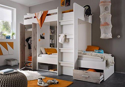 Jugendmöbel24.de Etagenbett weiß/grau inkl Kleiderschrank + Schubkasten + Regale Hochbett Kinderbett Kinderzimmer Doppelbett Stockbett
