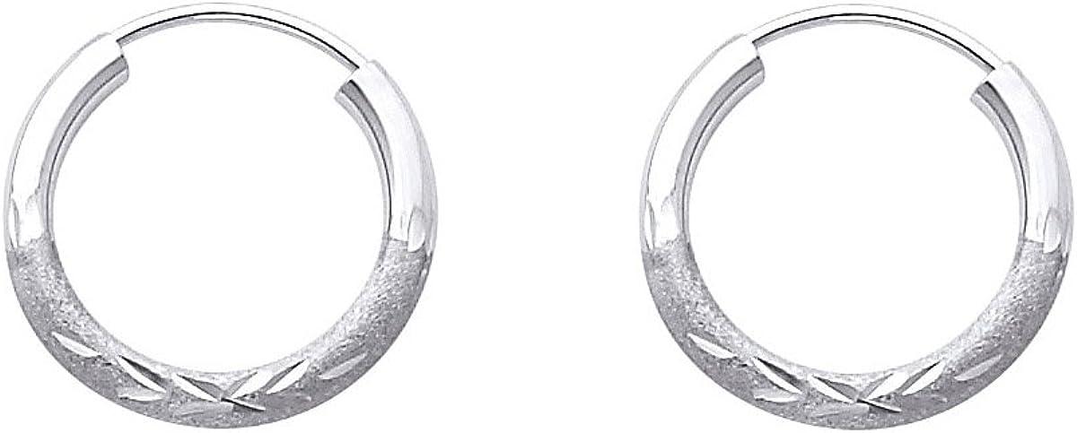 14k White Gold 2mm Thickness Endless Diamond Cut Hoop Earrings - Diameter -15mm