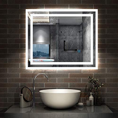 AicaSanitär LED Spiegel klein 60×50cm Badspiegel mit Beleuchtung Lichtspiegel Badezimmerspiegel Dekorative Wandspiegel Touch-Schalter Antibeschlag IP44 Kaltweiß energiesparend
