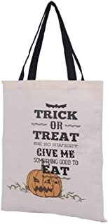 "Jolly Jon Halloween Trick or Treat Bags - Kids Candy Bucket Tote Basket - Pumpkin Design on Canvas Bag - Ivory 16"" Tall x ..."
