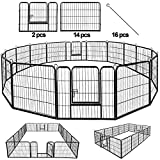 BestPet Dog Pen Extra Large Indoor Outdoor Dog Fence Playpen Heavy Duty 16/8 Panels 24 32 40 Inches Exercise Pen Dog Crate Cage Kennel (32' W x 40' H 16 Panles)